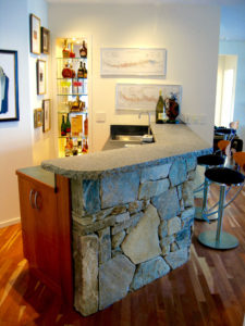 Fieldstone Bar, Caledonia Granite Counter Top (View 1)